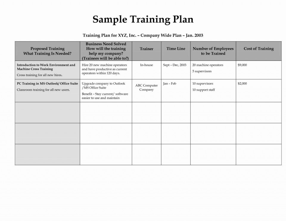 003 Stunning New Employee Training Plan Template Photo  Excel Free Download Program960