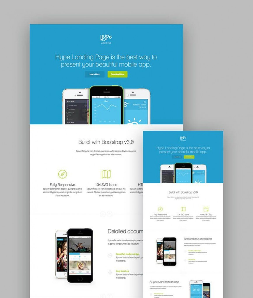003 Stunning Responsive Landing Page Template High Definition  Templates Free With Form