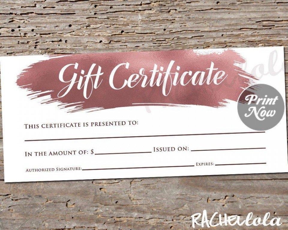 003 Stunning Salon Gift Certificate Template Picture 960
