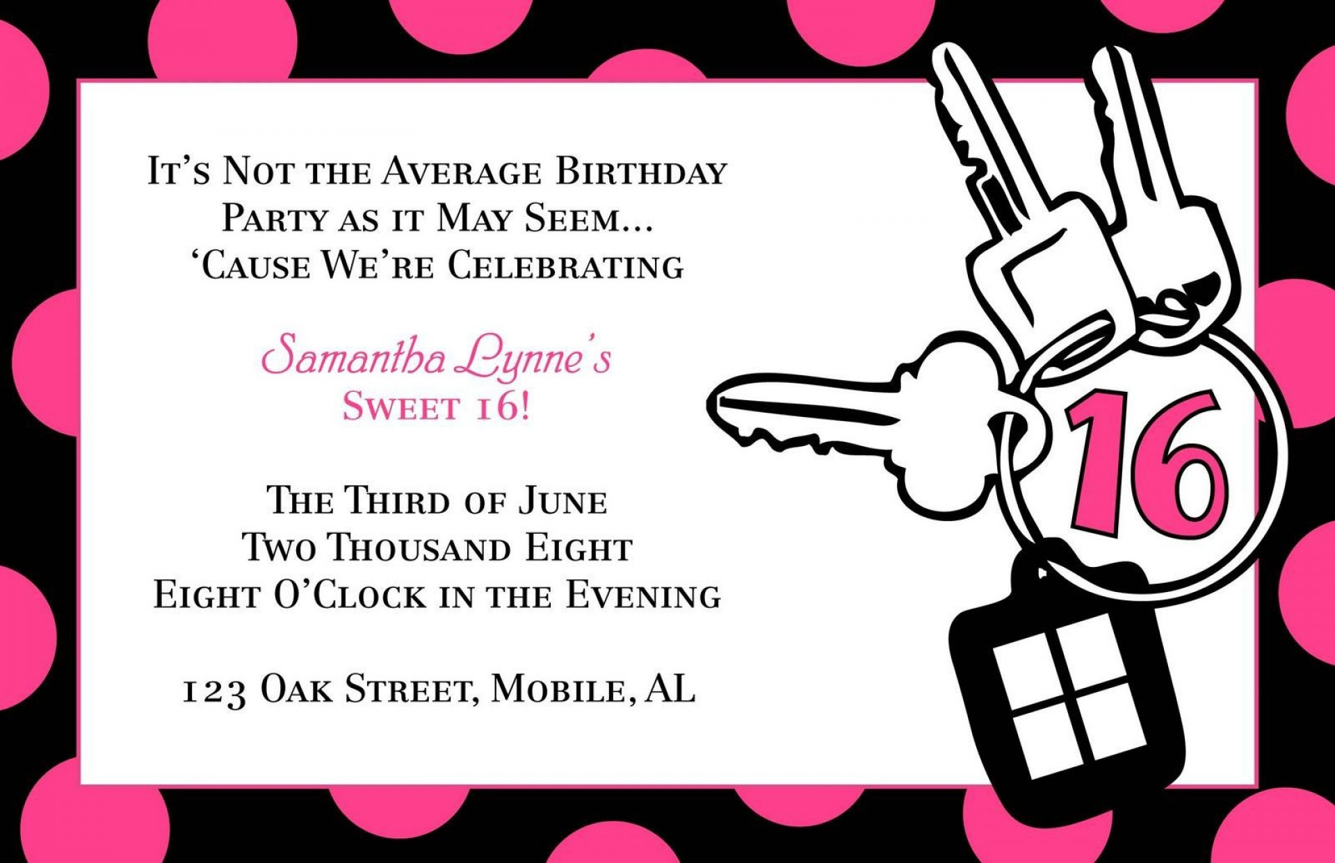 003 Stunning Sweet 16 Invite Template Highest Clarity  Templates Surprise Party Invitation Birthday Free 16th1920