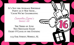 003 Stunning Sweet 16 Invite Template Highest Clarity  Templates Surprise Party Invitation Birthday Free 16th