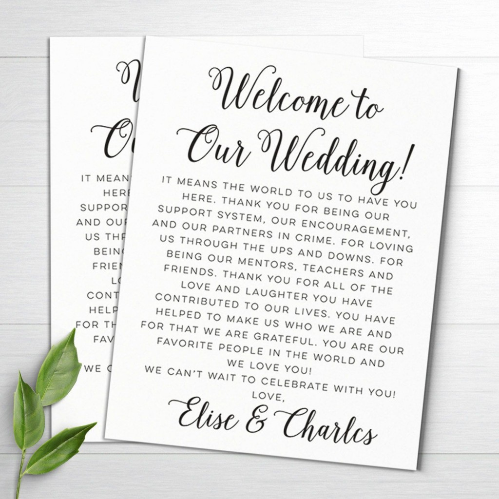 003 Stunning Wedding Welcome Letter Template Word Highest Clarity Large