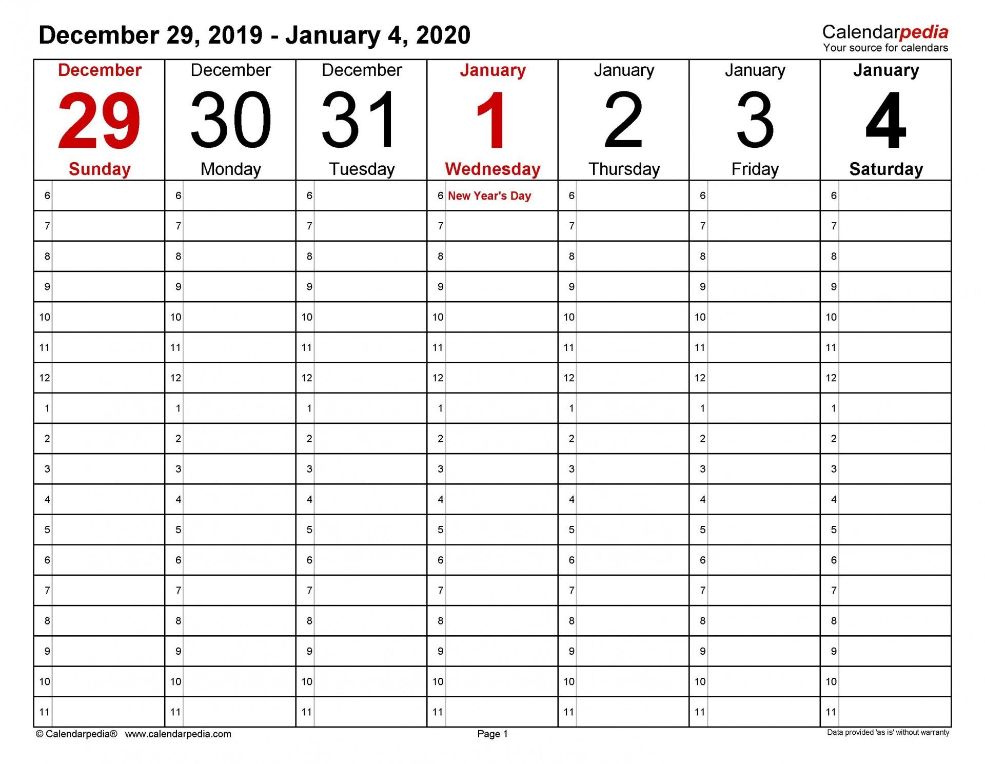 003 Stunning Weekly Calendar Template 2020 Sample  Printable Blank Free1920