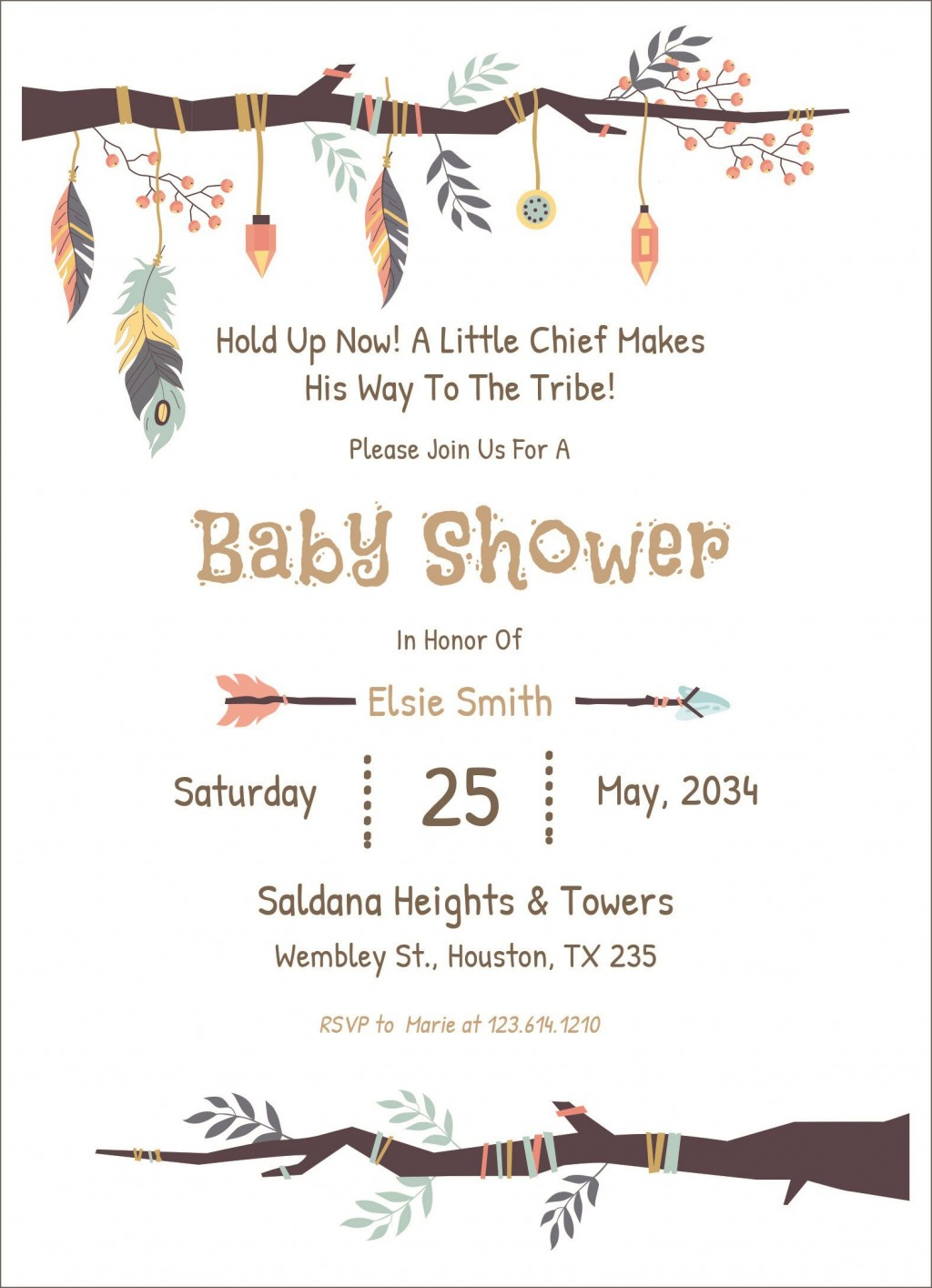 003 Stupendou Baby Shower Invitation Template Design  Editable Girl Downloadable Free Pdf VirtualLarge