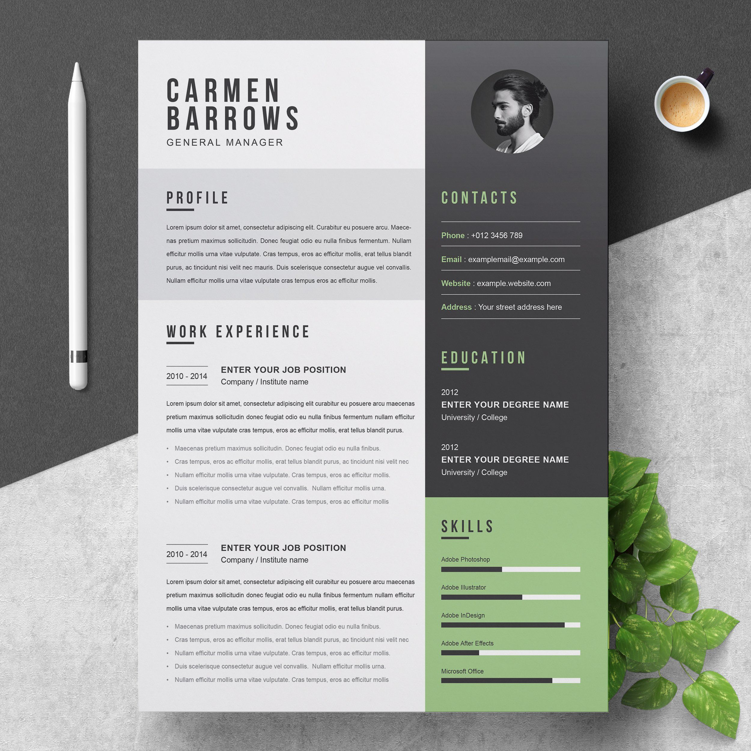 003 Stupendou Creative Cv Template Photoshop Free Picture Full