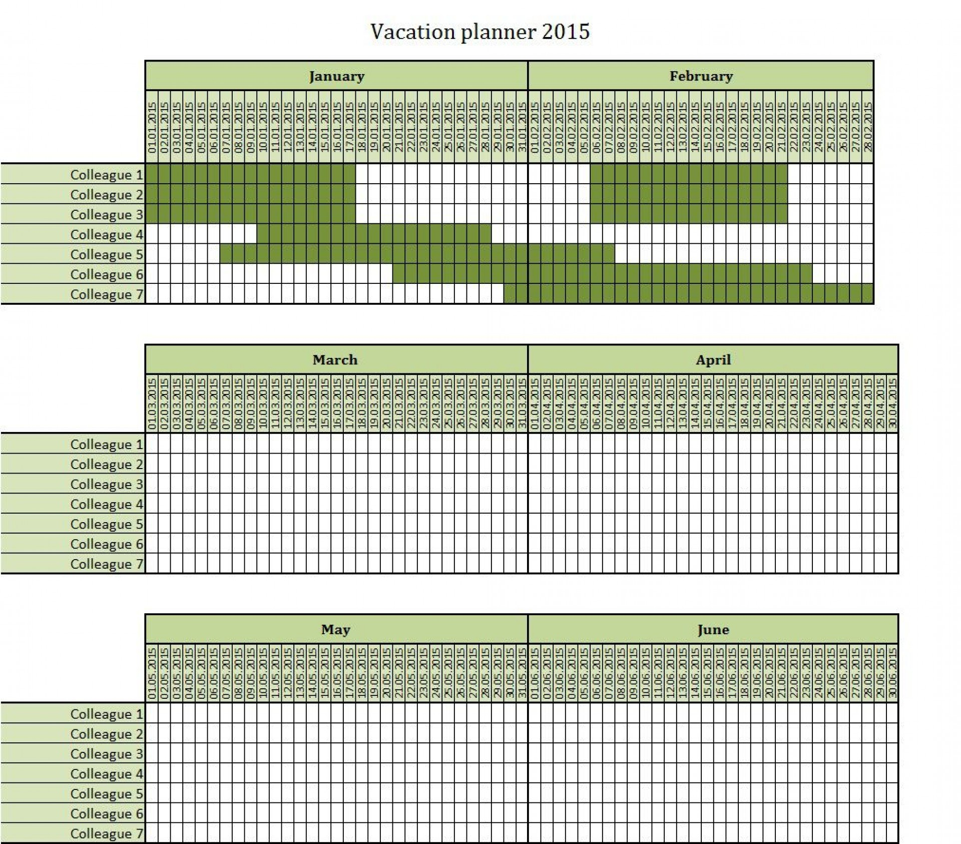 Employee Vacation Planner Template Excel Addictionary