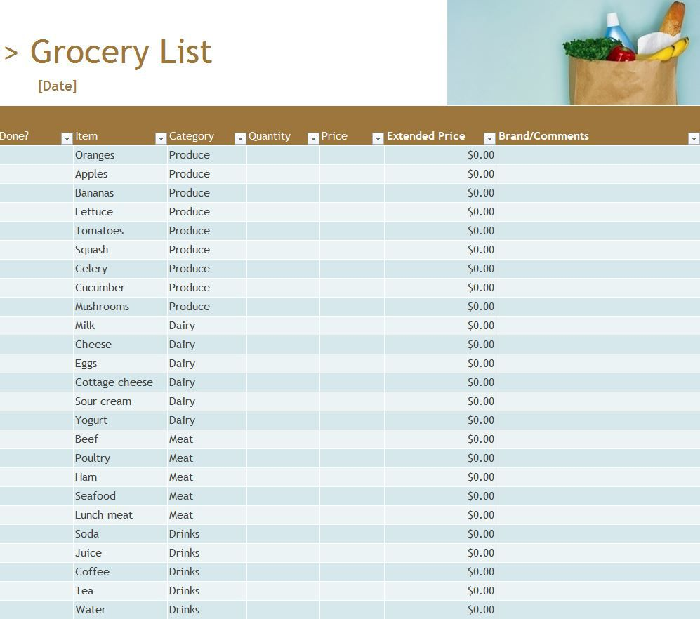 003 Stupendou Grocery List Template Excel Free Download High Resolution Full