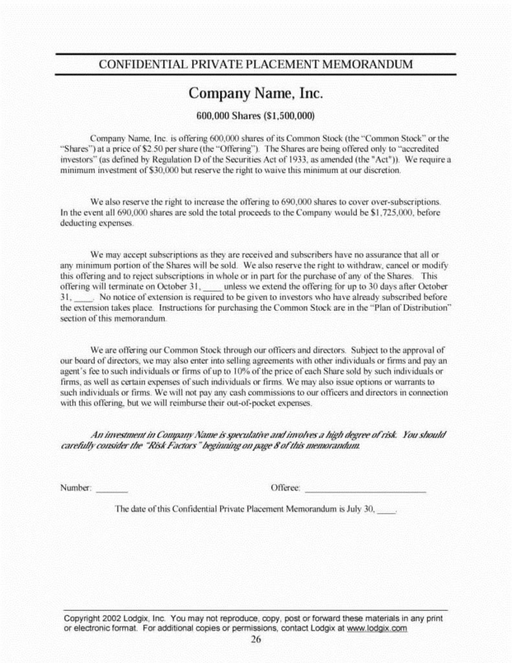 003 Stupendou Private Placement Memorandum Template Inspiration  Real Estate SingaporeLarge