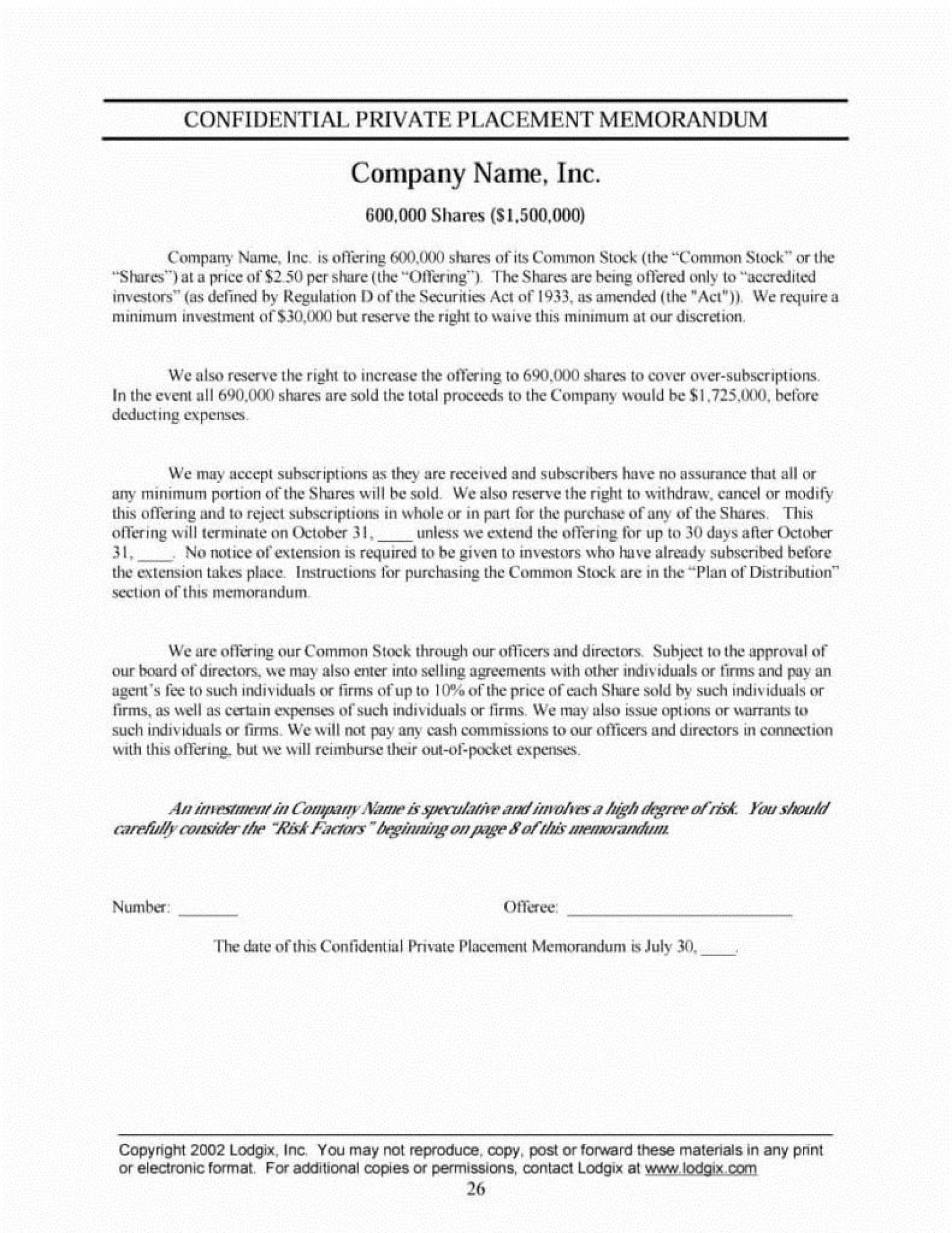 003 Stupendou Private Placement Memorandum Template Inspiration  Real Estate Singapore1920