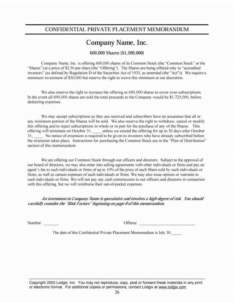 003 Stupendou Private Placement Memorandum Template Inspiration  Real Estate SingaporeFull