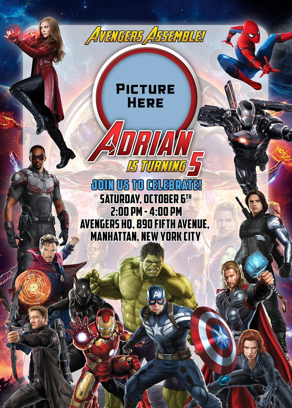 003 Surprising Avenger Birthday Party Invitation Template Free High Definition  InviteFull