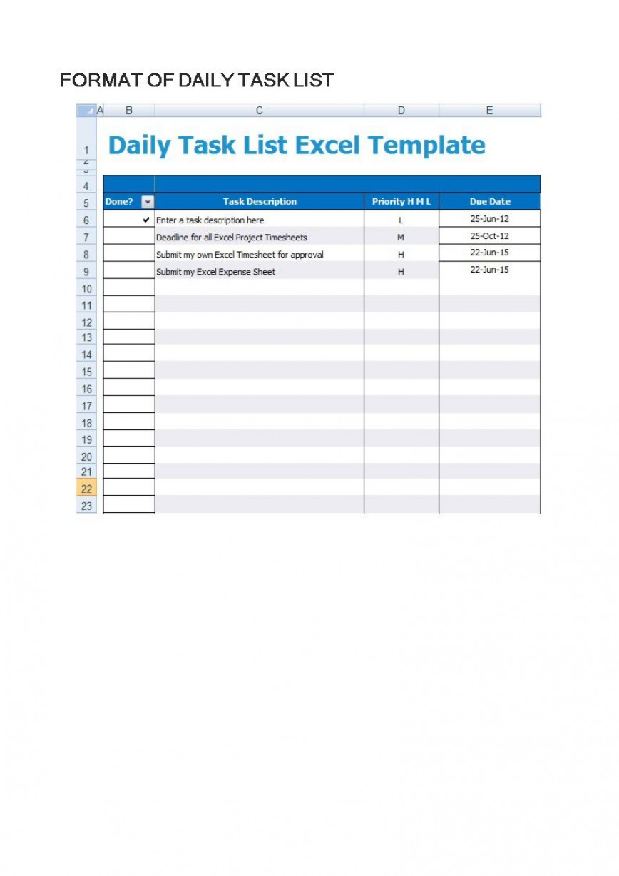 003 Surprising Daily Task List Template High Def  Format Excel Free Printable To Do