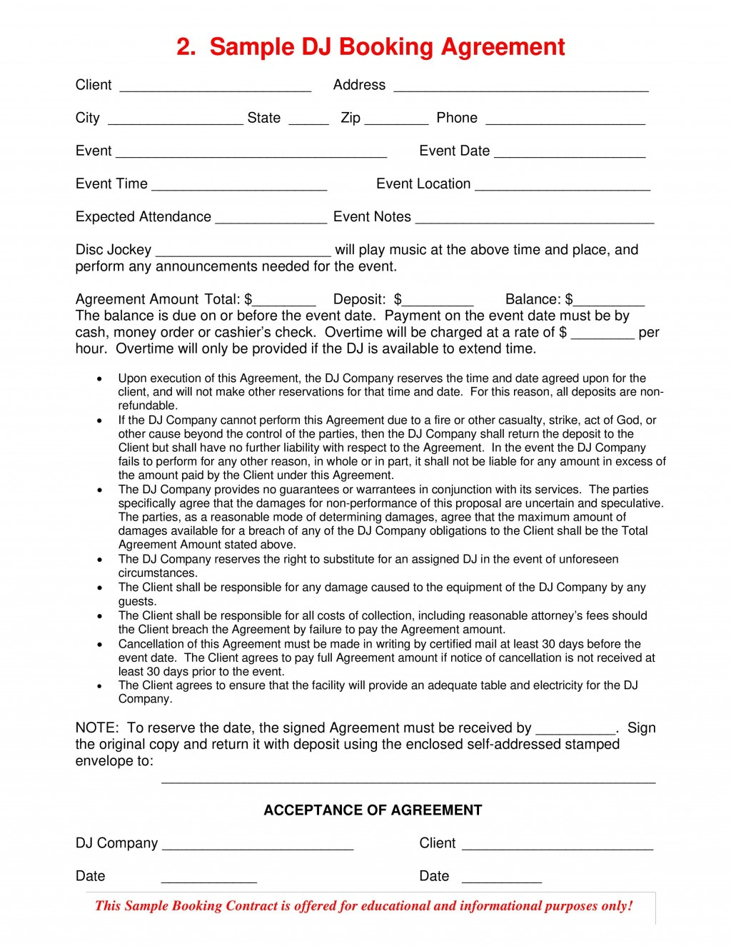 003 Surprising Disc Jockey Contract Template Concept  Disk FreeLarge