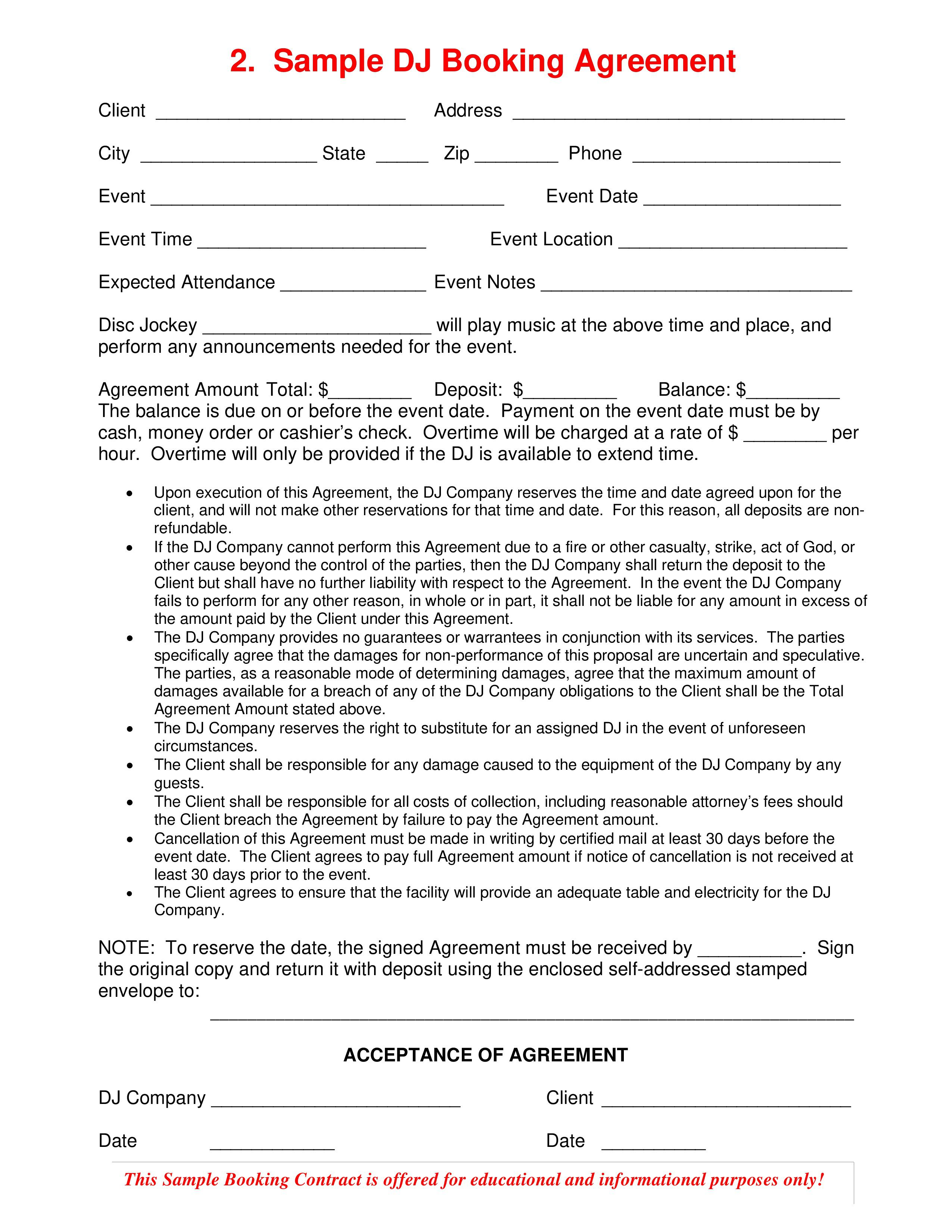 003 Surprising Disc Jockey Contract Template Concept  Disk FreeFull