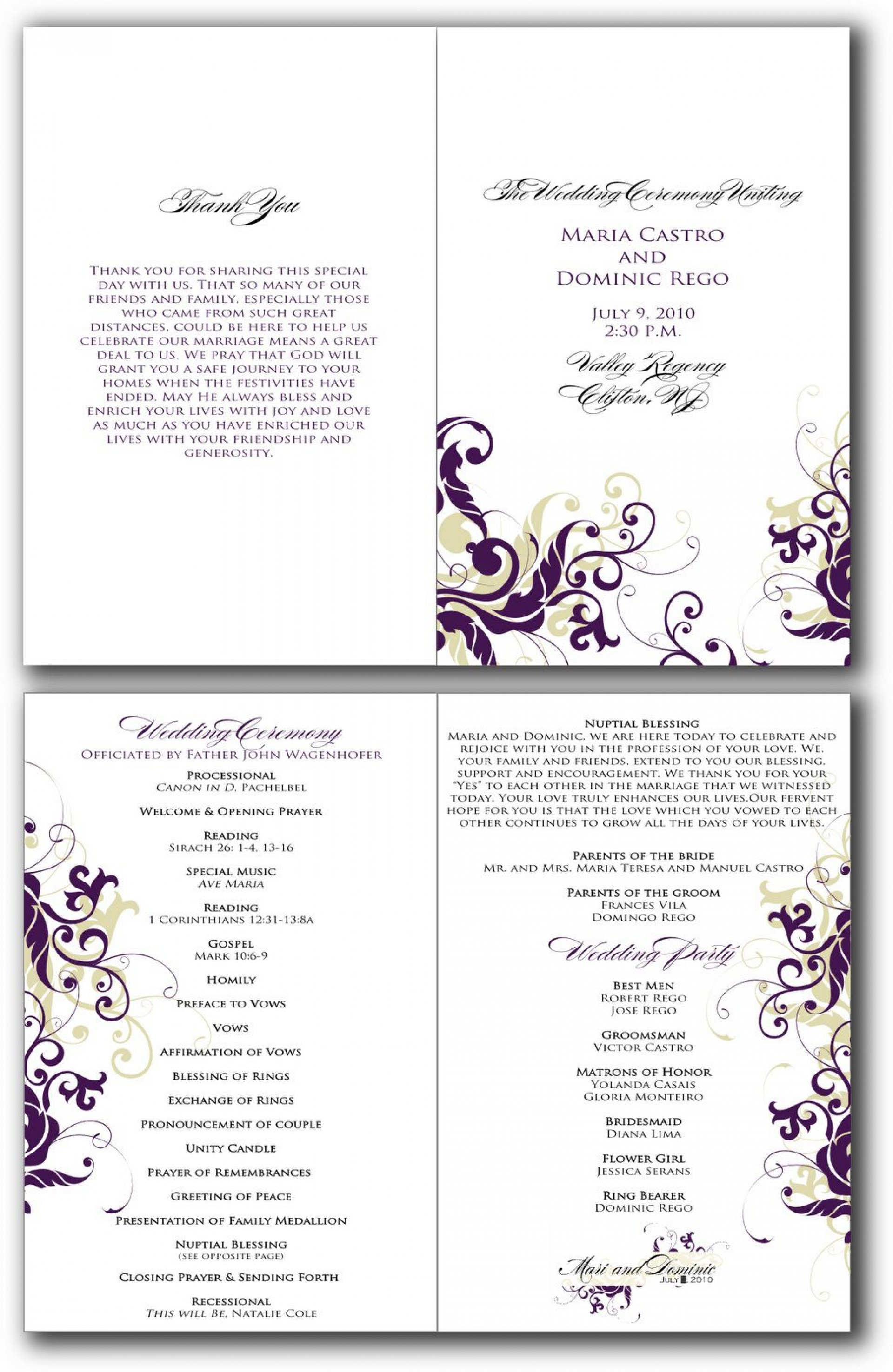 003 Surprising Free Downloadable Wedding Program Template Sample  Templates That Can Be Printed Printable Fall Reception1920