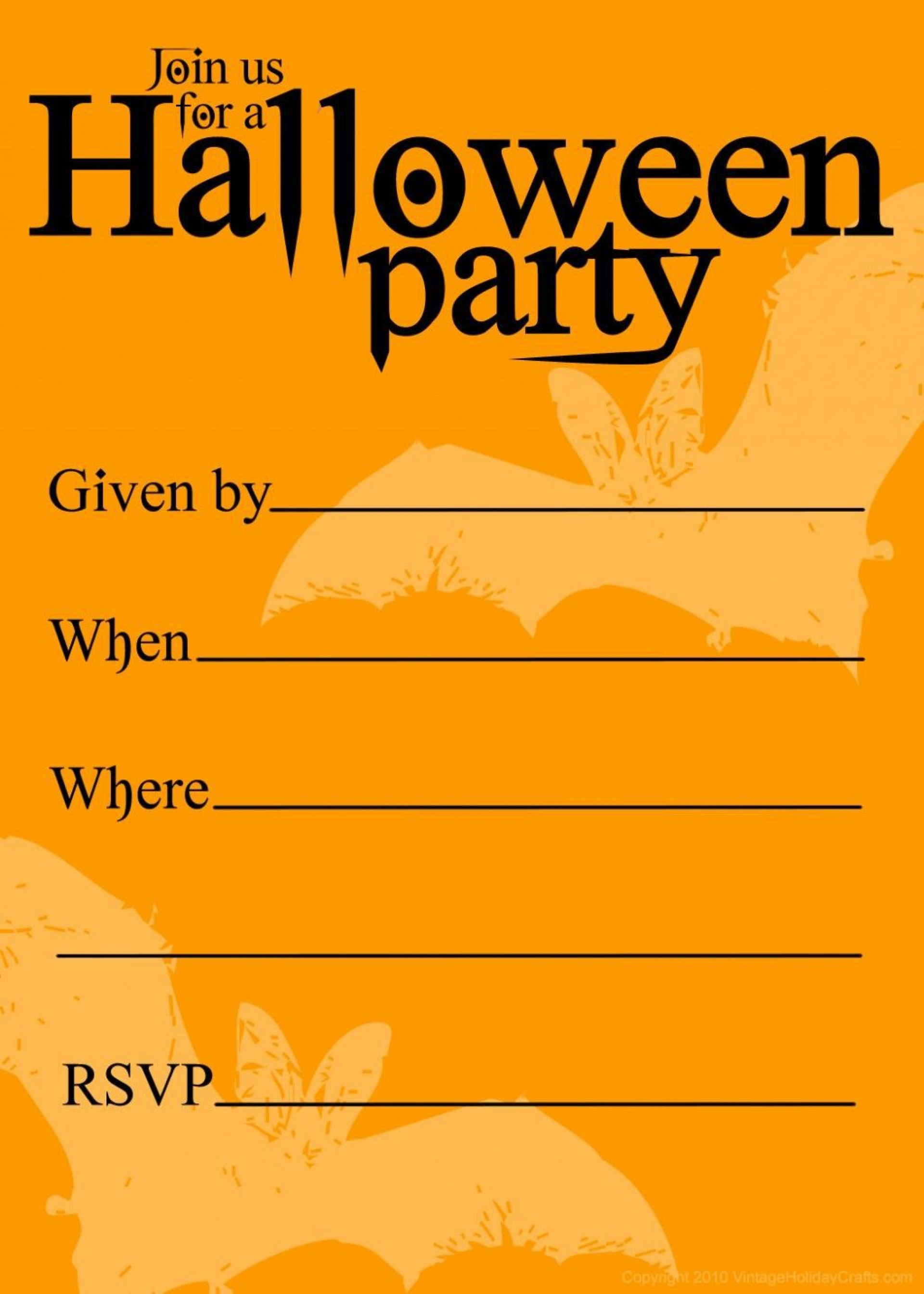 003 Surprising Halloween Party Invitation Template Picture  Microsoft Block October1920