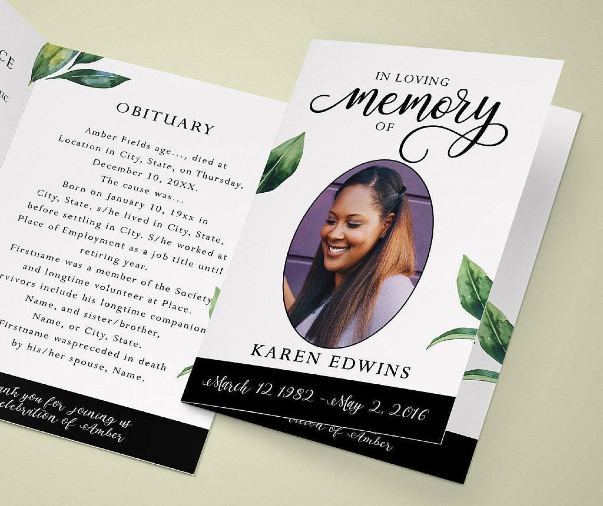 003 Surprising In Loving Memory Template Inspiration  Free Download Card Bookmark1920