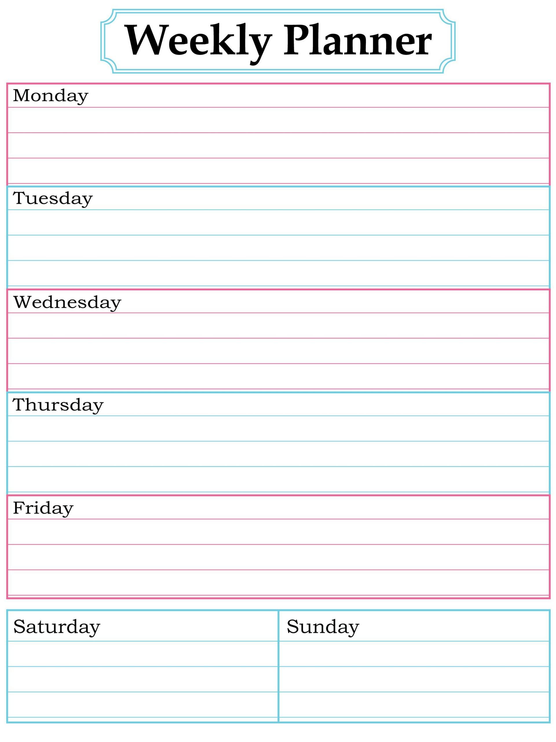 003 Surprising Printable Weekly Planner Template Cute Inspiration  Free Calendar1920