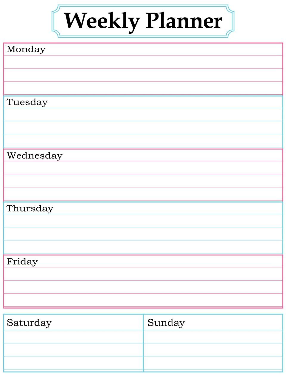 003 Surprising Printable Weekly Planner Template Cute Inspiration  Free Calendar960