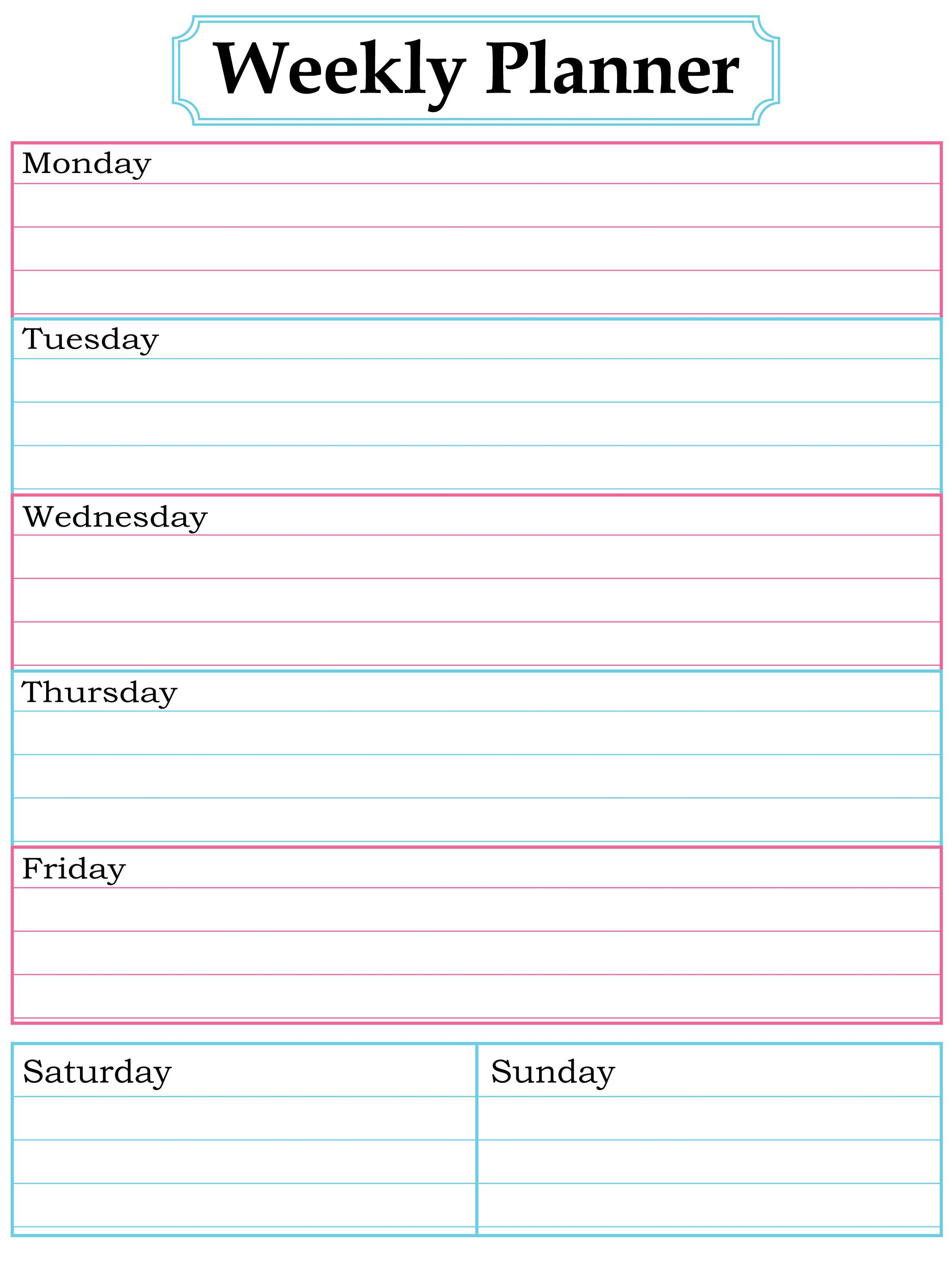 003 Surprising Printable Weekly Planner Template Cute Inspiration  Free CalendarFull