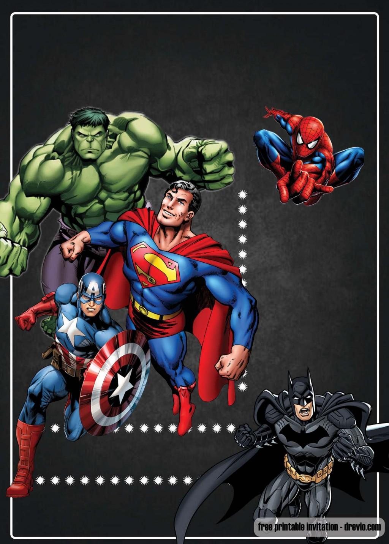 003 Surprising Superhero Birthday Invitation Template Free High Definition Large
