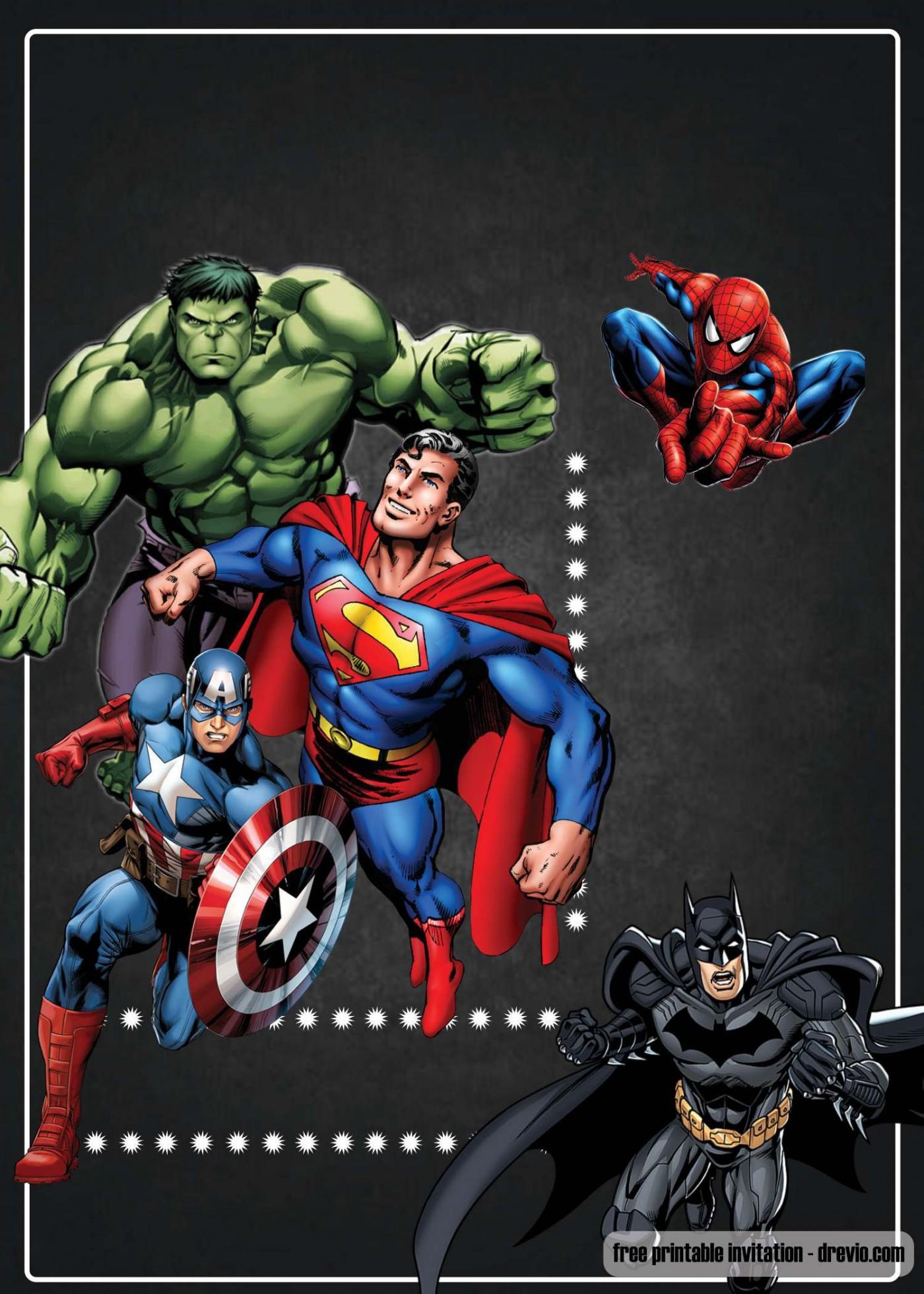 003 Surprising Superhero Birthday Invitation Template Free High Definition 1400