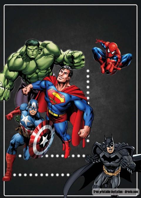 003 Surprising Superhero Birthday Invitation Template Free High Definition 480