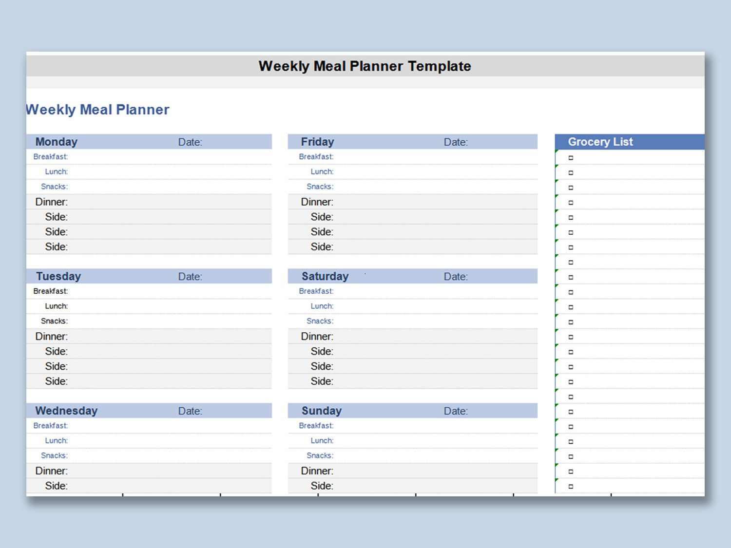 003 Surprising Weekly Meal Planner Template Excel Inspiration  Downloadable Plan EditableFull
