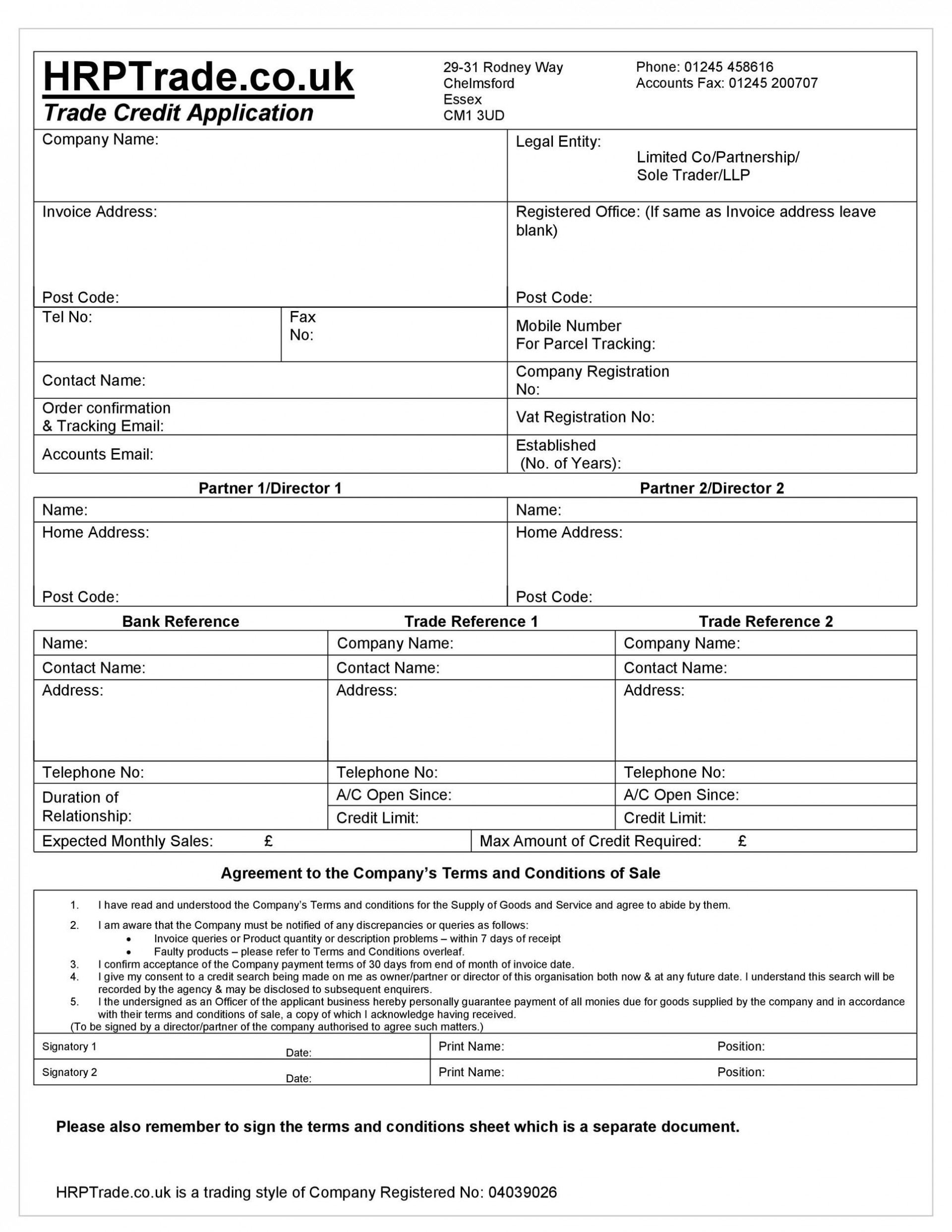 003 Top Busines Credit Application Template Excel Highest Quality  Form1920