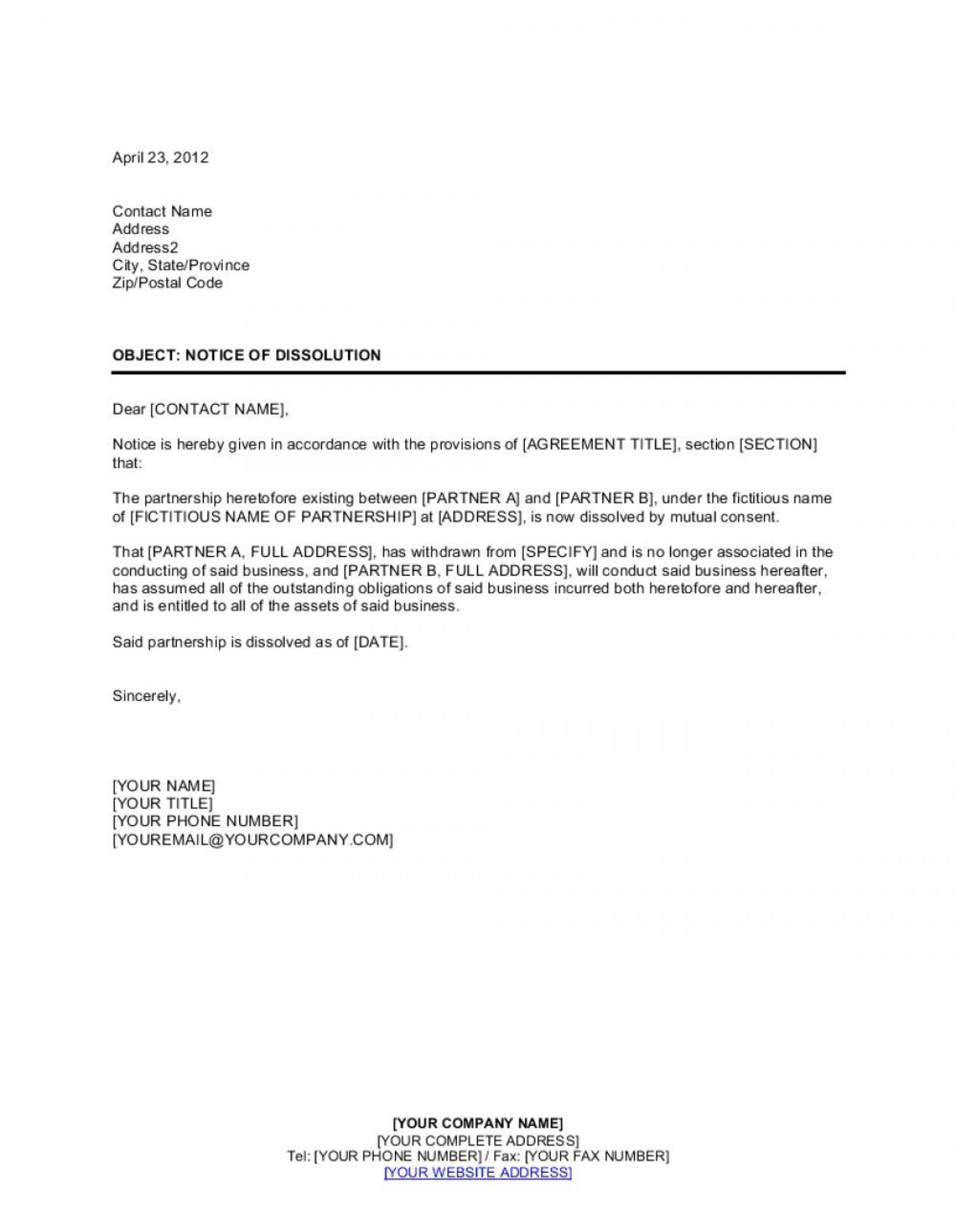 003 Top Busines Partnership Separation Agreement Template Photo  Partner Termination1920