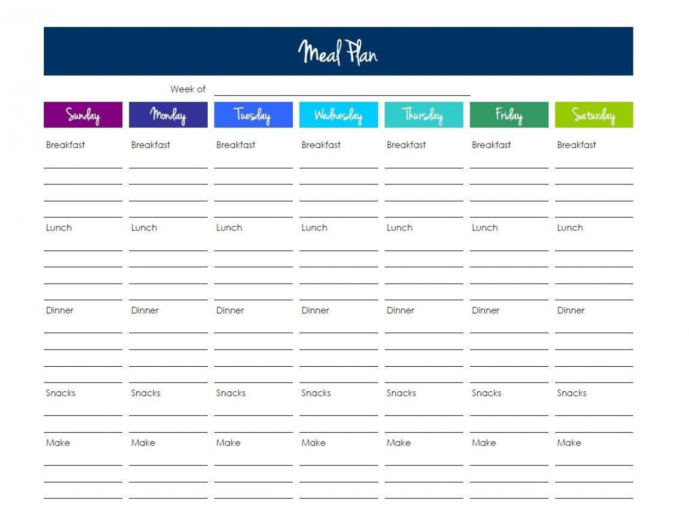 003 Top Excel Weekly Meal Planner Template Idea  With Grocery List Downloadable1400
