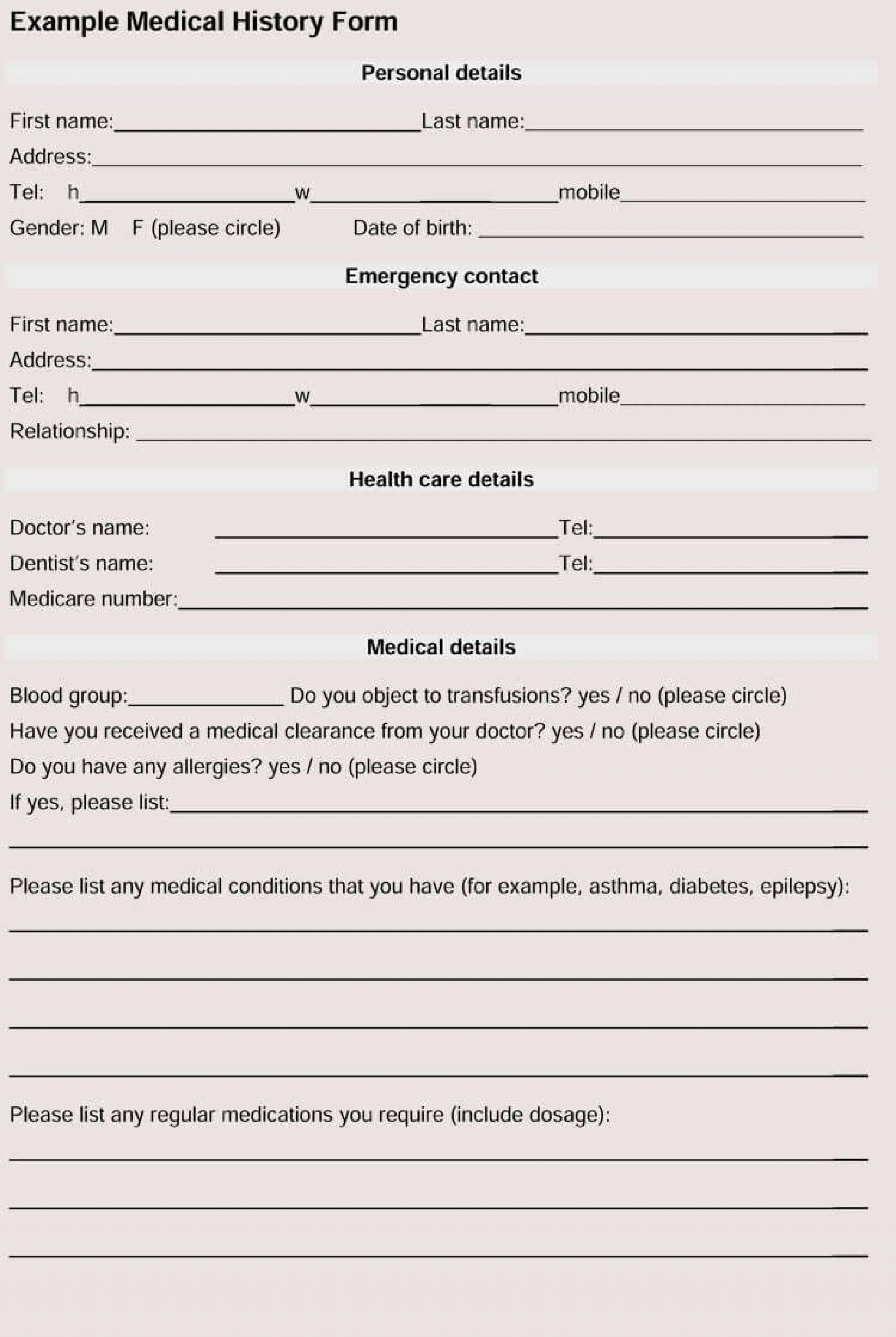 003 Top Family Medical History Template Photo  Questionnaire Free Excel1920