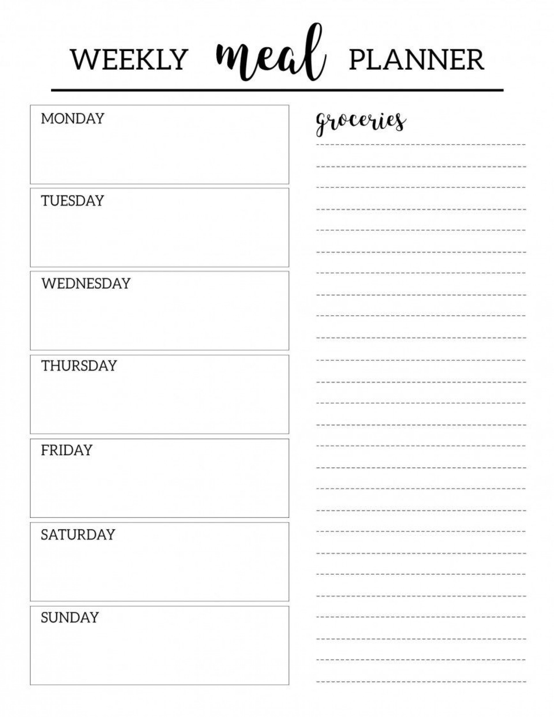003 Top Free Food Planner Template Highest Clarity  Printable Weekly Meal With Grocery List Diary Download Editable Word1920