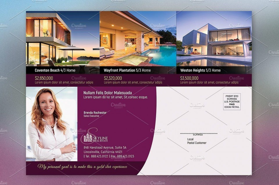 003 Top Real Estate Postcard Template Picture  Agent For Photoshop Investor960