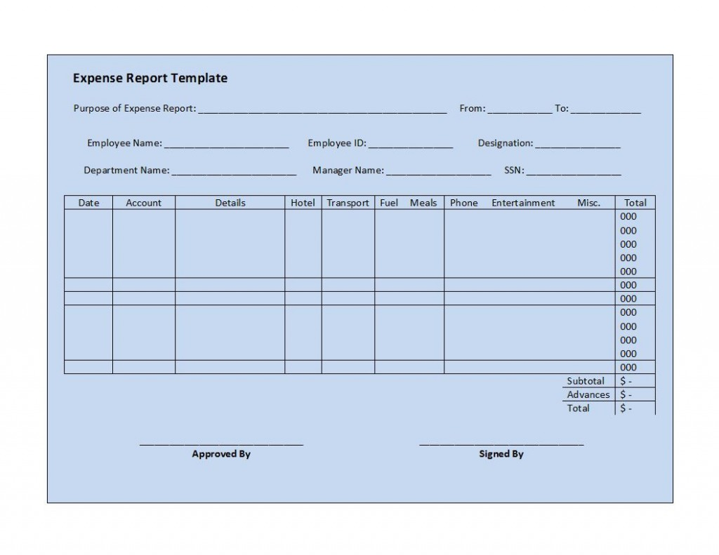 003 Top Simple Expense Report Template Highest Quality  Example Free FormLarge