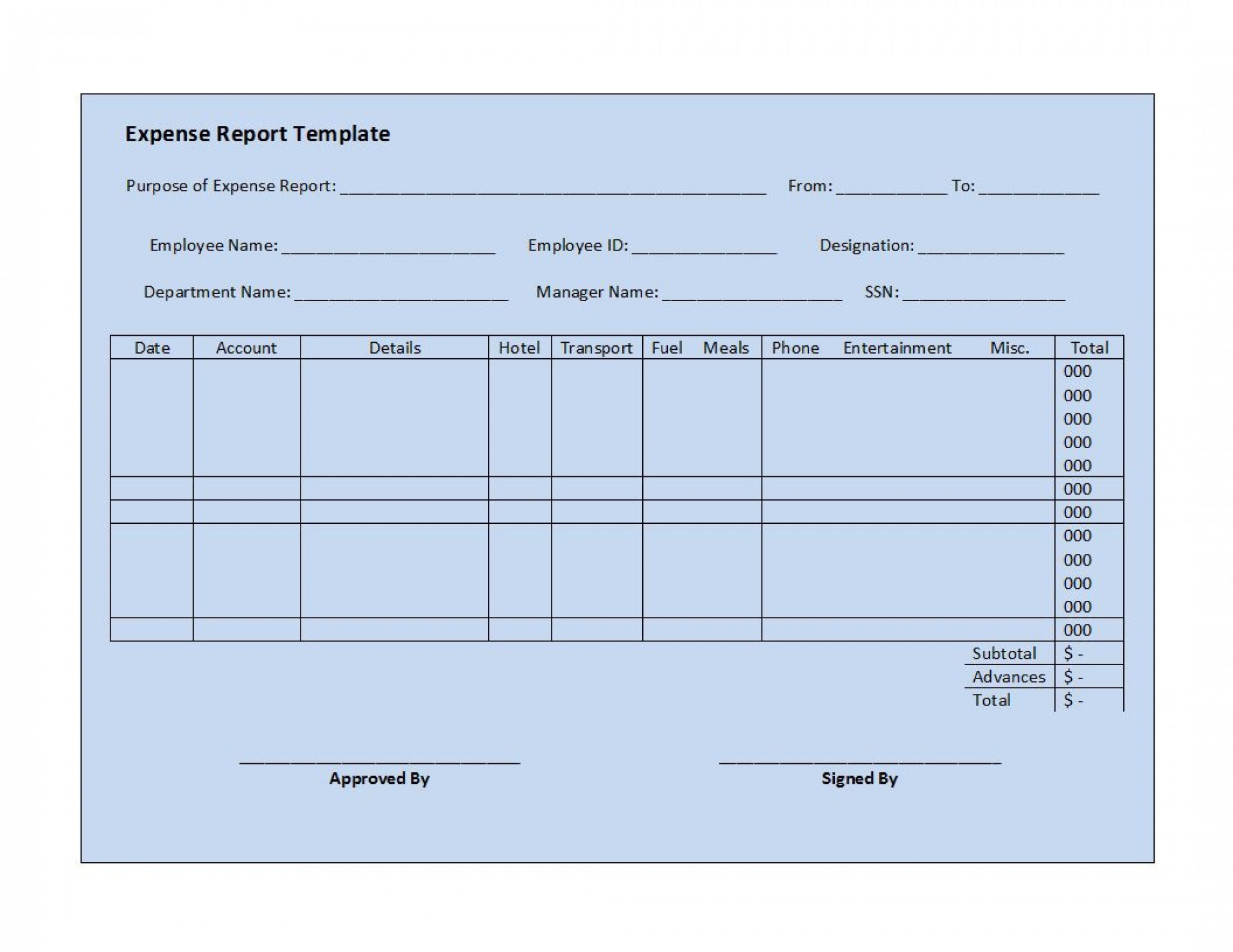 003 Top Simple Expense Report Template Highest Quality  Example Free Form1920