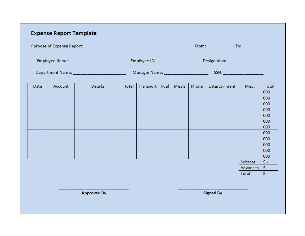 003 Top Simple Expense Report Template Highest Quality  Example Free FormFull