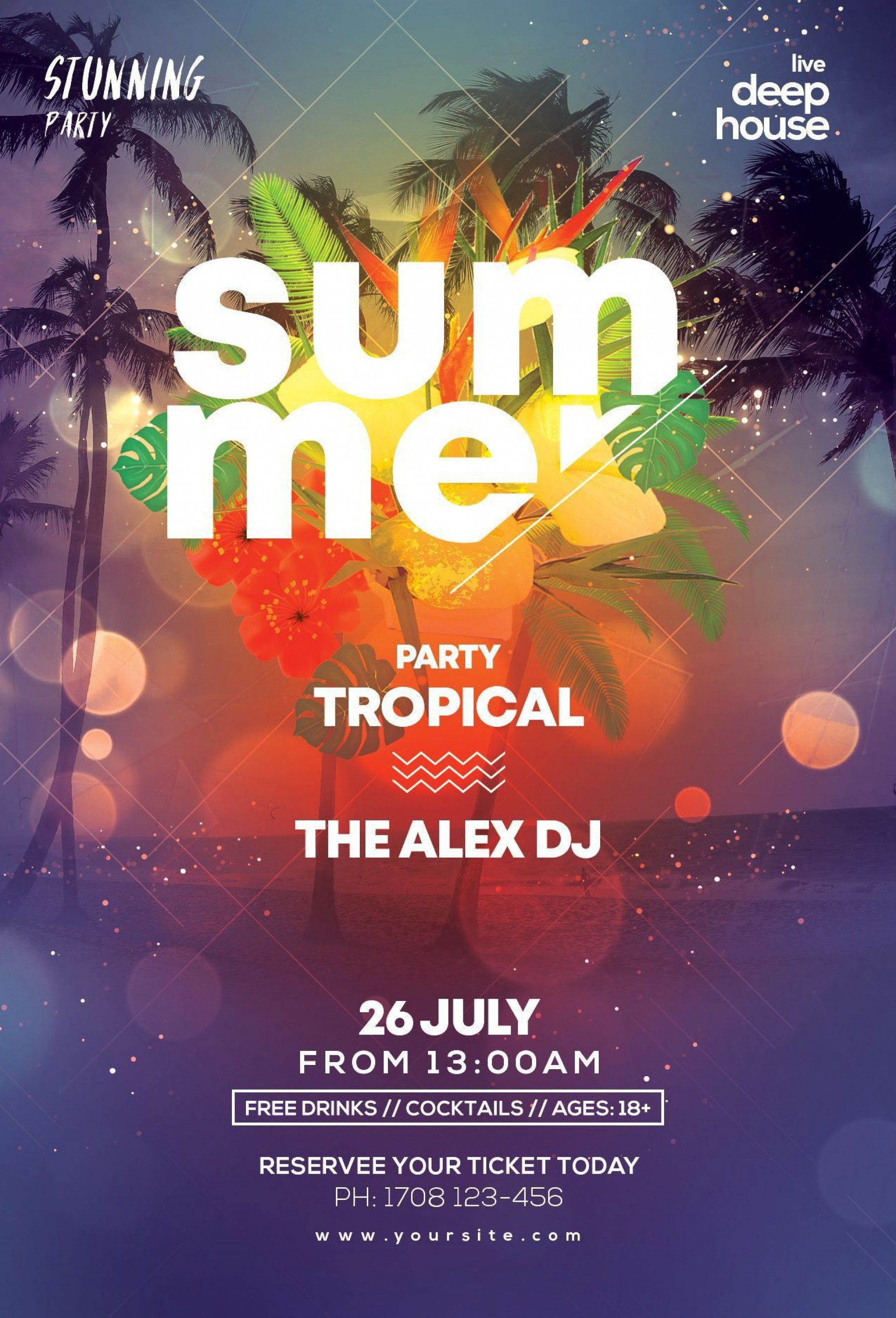 003 Top Summer Party Flyer Template Free Download Photo 1920