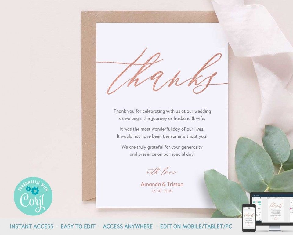 003 Top Wedding Thank You Note Template Design  Example Wording Sample For Money Gift Shower960