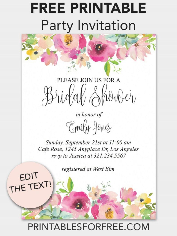 003 Unbelievable Free Bridal Shower Invite Template Idea  Templates Invitation To Print Online Wedding For Microsoft WordLarge