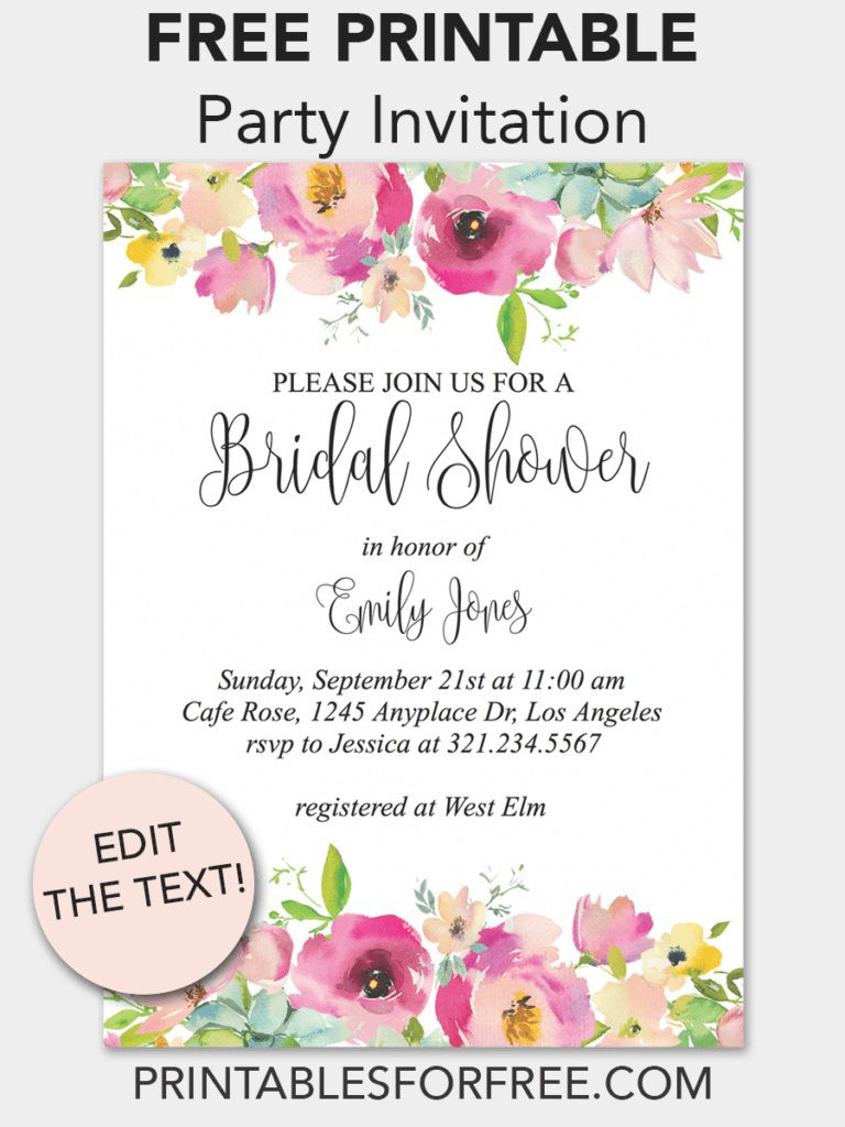 003 Unbelievable Free Bridal Shower Invite Template Idea  Templates Invitation To Print Online Wedding For Microsoft WordFull
