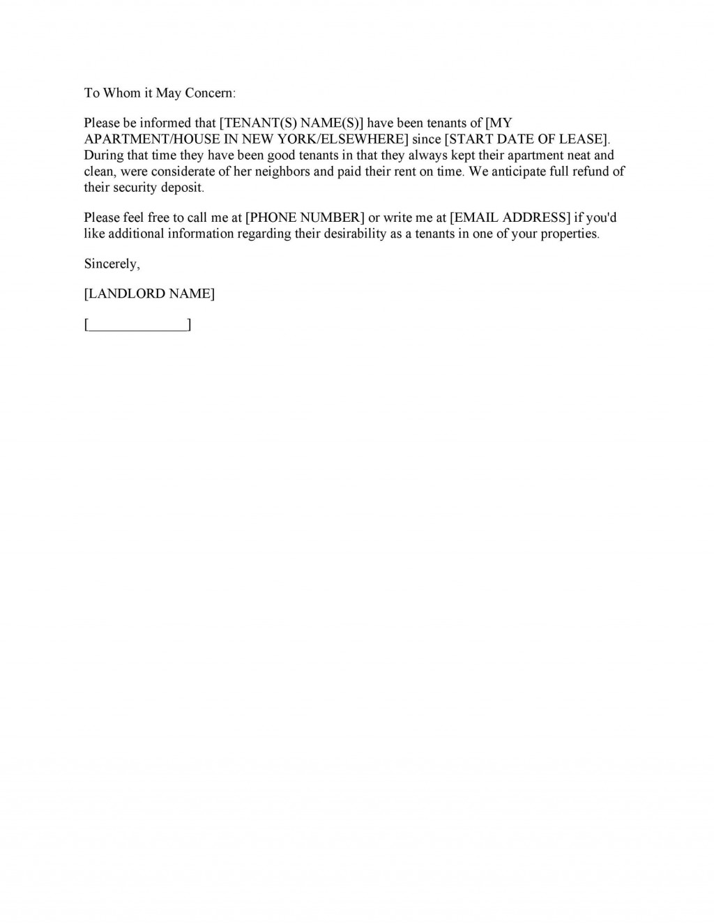 003 Unbelievable Free Reference Letter Template For Tenant Photo Large