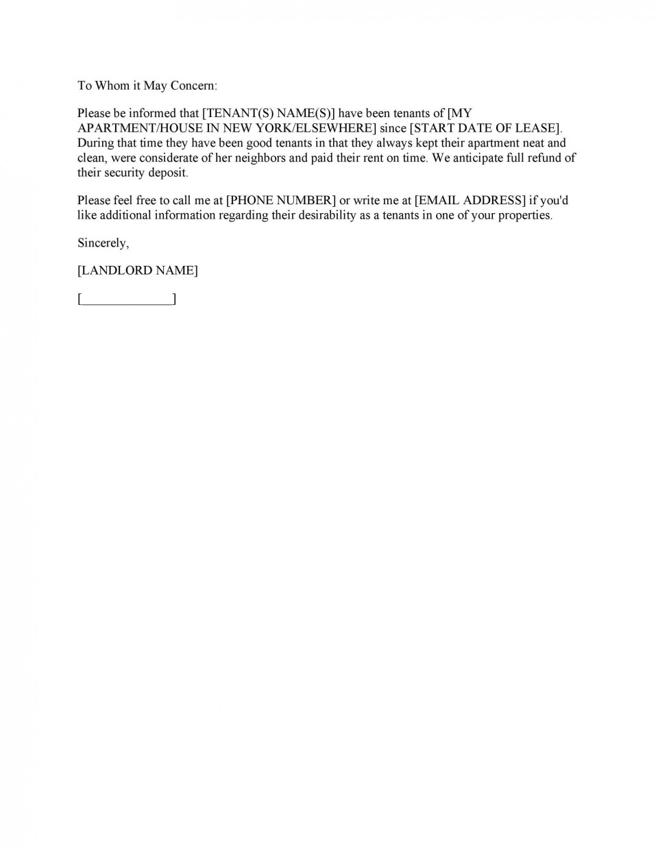 003 Unbelievable Free Reference Letter Template For Tenant Photo 960