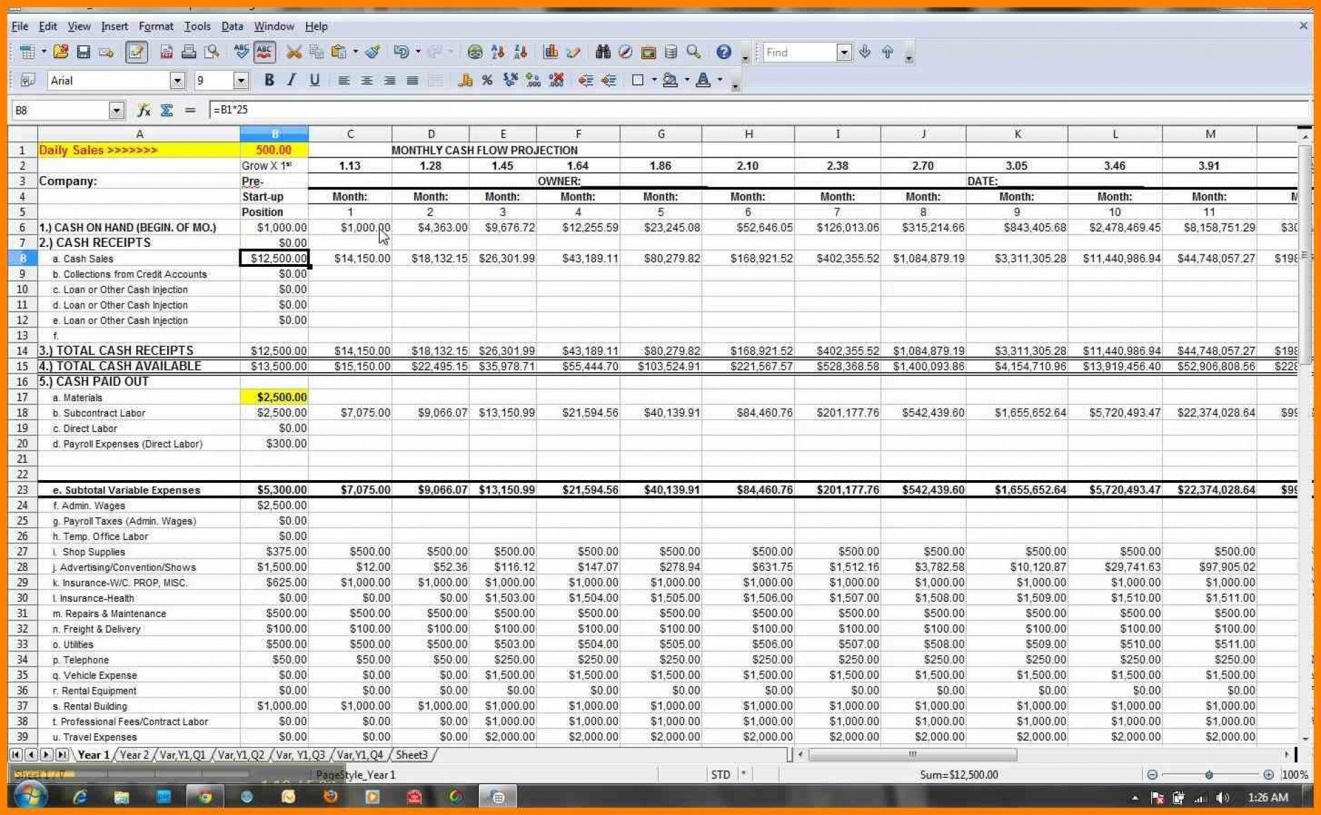 003 Unbelievable Microsoft Excel Weekly Cash Flow Template Sample  Forecast1920