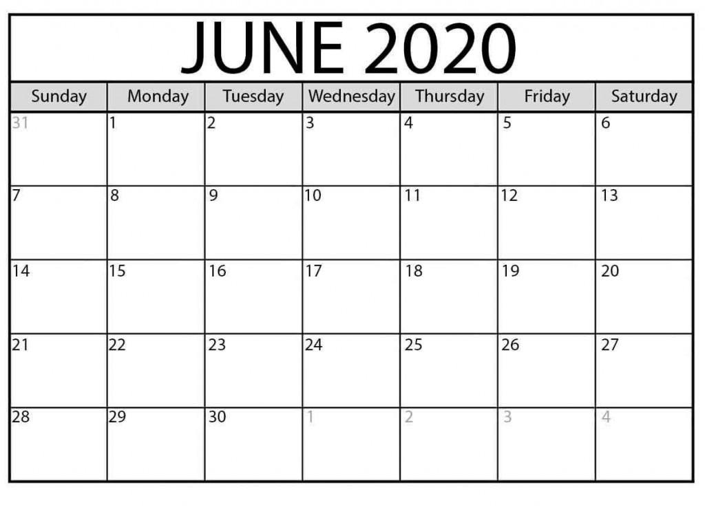 003 Unbelievable Printable Calendar Template June 2020 Highest Clarity  FreeLarge