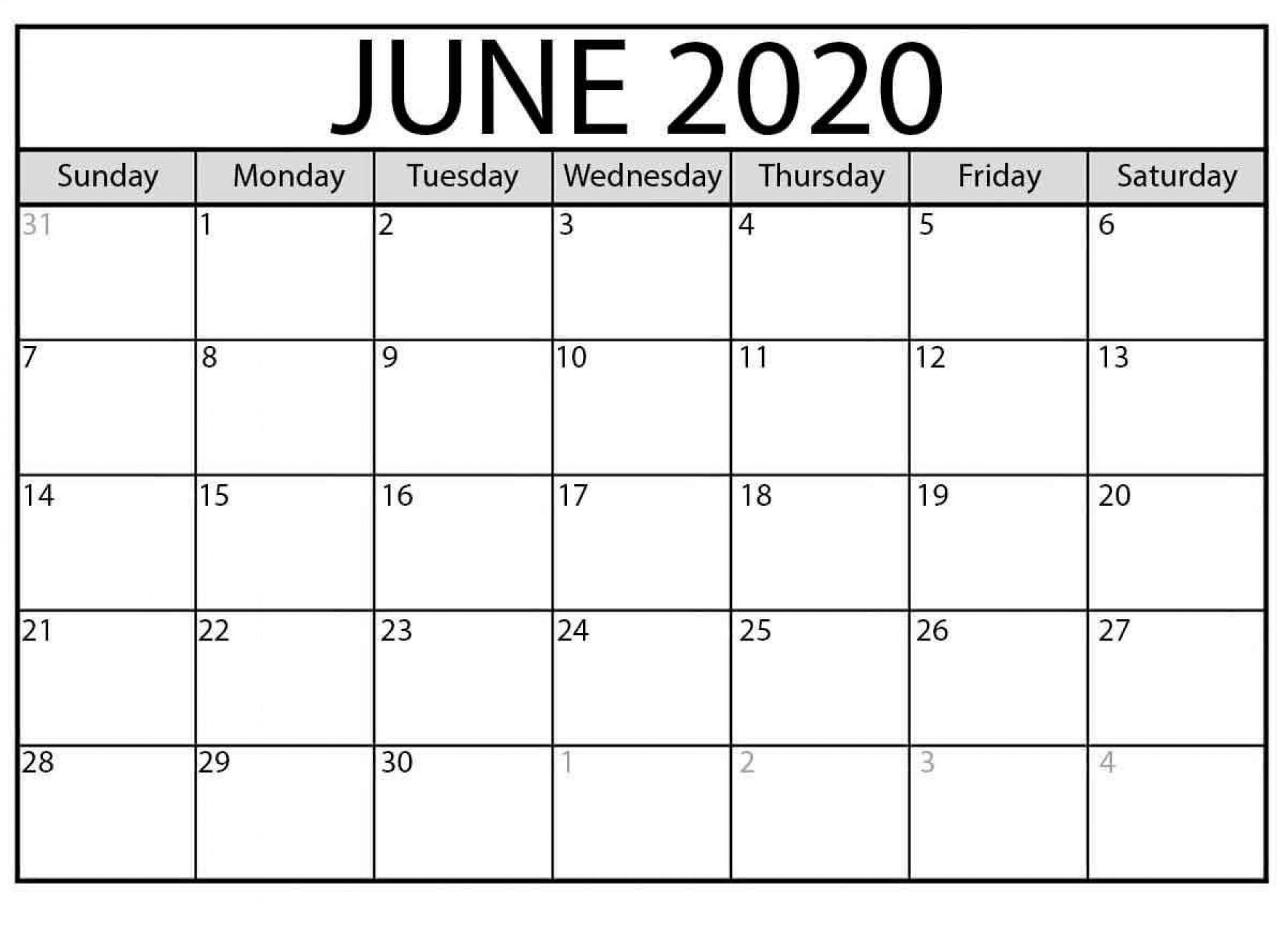 003 Unbelievable Printable Calendar Template June 2020 Highest Clarity  Free1920