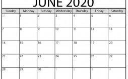 003 Unbelievable Printable Calendar Template June 2020 Highest Clarity  Free