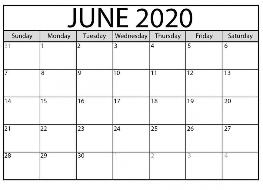 003 Unbelievable Printable Calendar Template June 2020 Highest Clarity  Editable Free