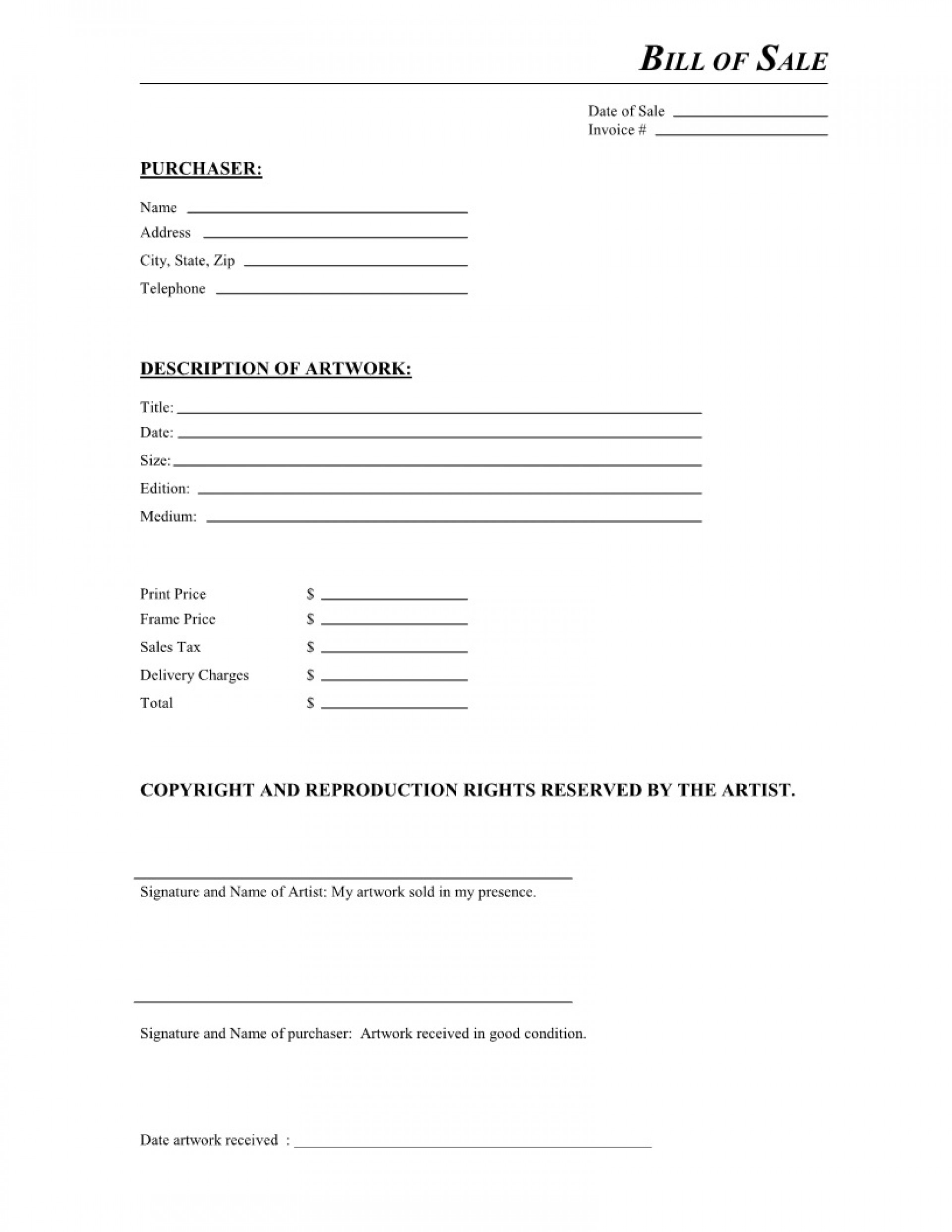 003 Unbelievable Simple Bill Of Sale Template Example  For Car Pdf Boat Uk1920