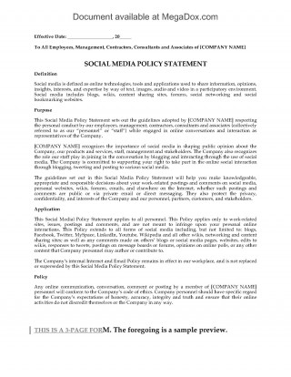 003 Unbelievable Social Media Policy Template Photo  Free320